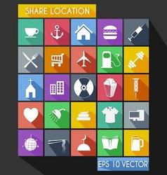 Shared Location Flat Icon Long Shadow vector image