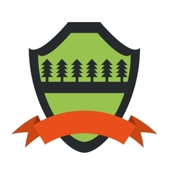 Shield protection forest pine orange ribbon green vector