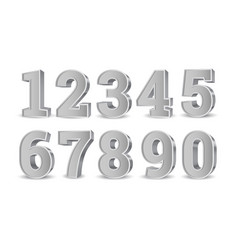 Silver old 3d numbers vector