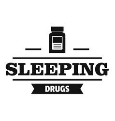 sleeping pill logo simple black style vector image