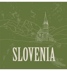 Slovenia landmarks Retro styled image vector image