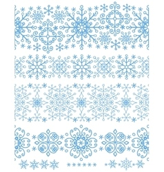 Snowflakes seamless borders setWinter pattern vector image