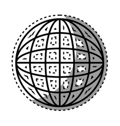 Sticker shading silhouette sphere with lines vector
