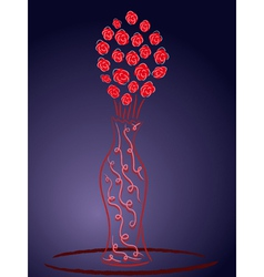 Still life with red roses vector