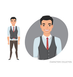 stylish young asian man in casual clothes vector image
