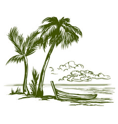 Summer beach landscape hand drawn vector