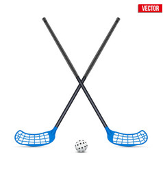 Symbol of ball and sticks for floorball vector
