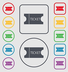 ticket icon sign symbol on the Round and square vector image