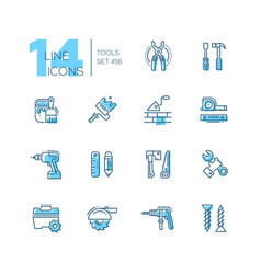 tools - coloured modern single line icons set vector image