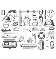 Travel and tourism equipment isolated icons vector