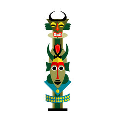 Tribal totem with horned mask isolated on white vector