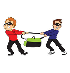 two thieves pulling bag in opposite direction vector image