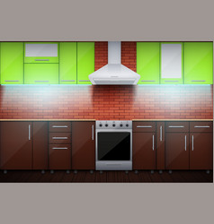 typical modular kitchen with led light vector image
