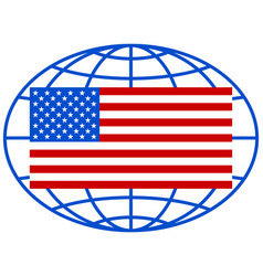 usa flag on globe vector image