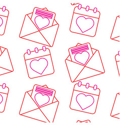 valentines day calendar message seamless pattern vector image