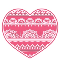 Valentines Day design - Mehndi heart Indian vector image