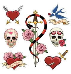 Various heart skull and dagger tattoo graphics vector