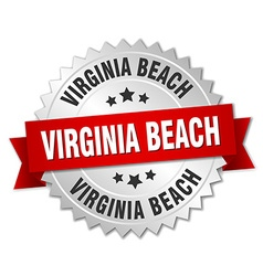 Virginia Beach round silver badge with red ribbon vector