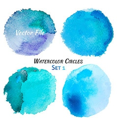 Watercolor Blue and Purple Colorful Circles Set vector