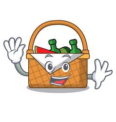 Waving picnic basket character cartoon vector