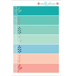 weekly planner pastel color sweet vector image