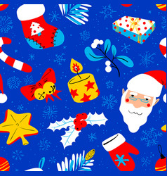 Winter seasonal background christmas seamless vector