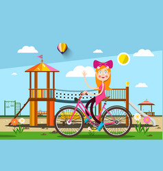 Woman on bicycle in park with playground on vector