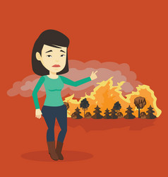 woman standing on the background of wildfire vector image