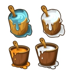 Wooden buckets with blue white and yellow paint vector