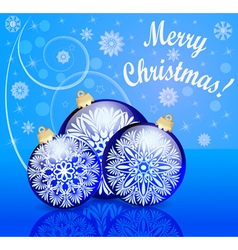 background with festive ball and snowflake with re vector image vector image