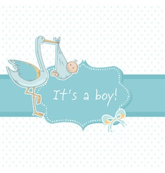 Cute baby boy announcement card with stork vector image