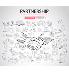 PartnerShip concept with Doodle design style vector image