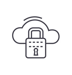 cloud security line icon sign vector image vector image