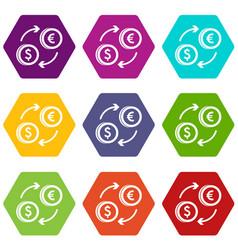 euro dollar euro exchange icon set color vector image