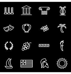 line greece icon set vector image vector image