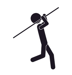 monochrome silhouette with gymnast launch Javelin vector image