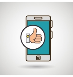 smartphone blue hand isolated icon design vector image vector image