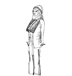 Fashion woman sketch vector image