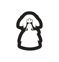 Flat icon in black and white bride vector image vector image