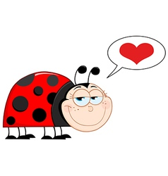 Happy Smiling Ladybug In Love vector image