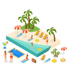 isometric island travel concept vector image vector image