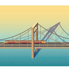 sunny railway bridge vector image