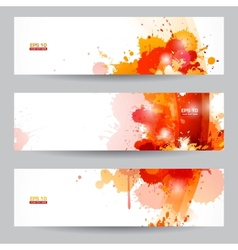 Three abstract artistic headers with paint splats vector image vector image