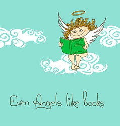 with Angel reading a book vector image vector image