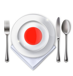 A plate with an japanese flag vector