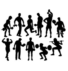 fitness gym activity silhouettes vector image