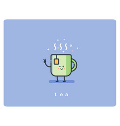 flat icon friendly cup of tea character vector image vector image