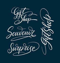 gift shop and souvenir hand written typography vector image vector image