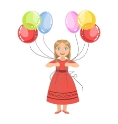 Girl in red dress holding six colorful balloons vector