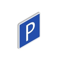 Parking sign icon isometric 3d style vector image vector image